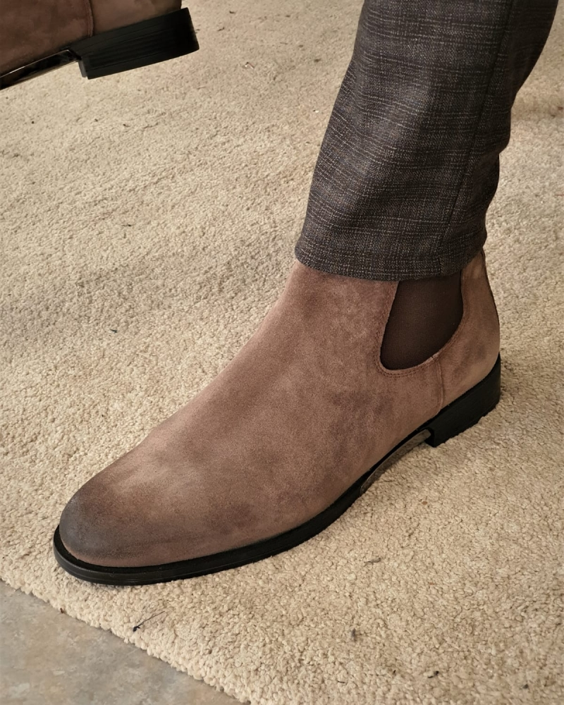 Mink Suede Chelsea Boots by GentWith.com with Free Worldwide Shipping