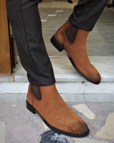 Tan Suede Chelsea Boots by GentWith.com with Free Worldwide Shipping