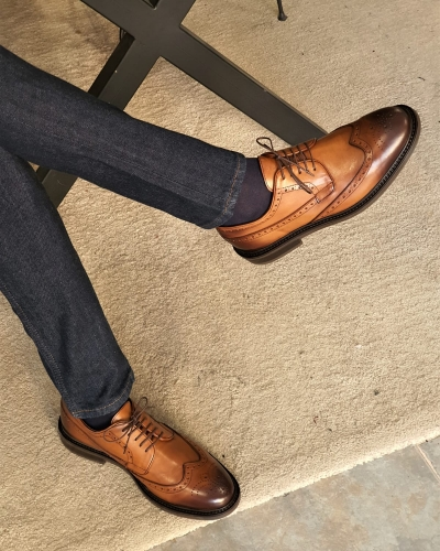 Tan Wingtip Oxfords by GentWith.com with Free Worldwide Shipping