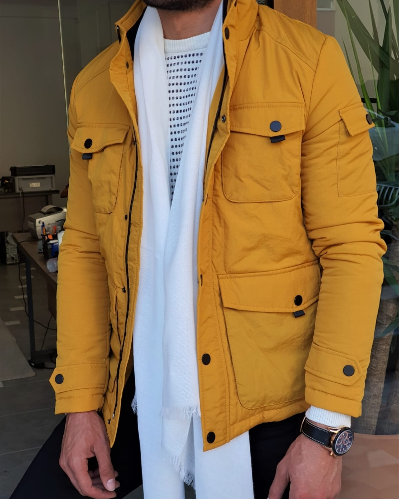 Yellow Slim Fit Coat by GentWith.com with Free Worldwide Shipping
