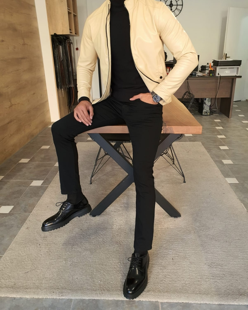 Beige Slim Fit Leather Coat by GentWith.com with Free Worldwide Shipping
