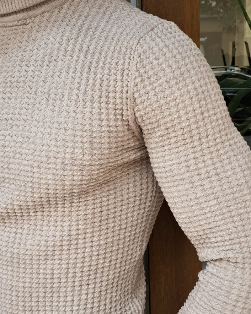 Beige Slim Fit Turtleneck Sweater by GentWith.com with Free Worldwide Shipping