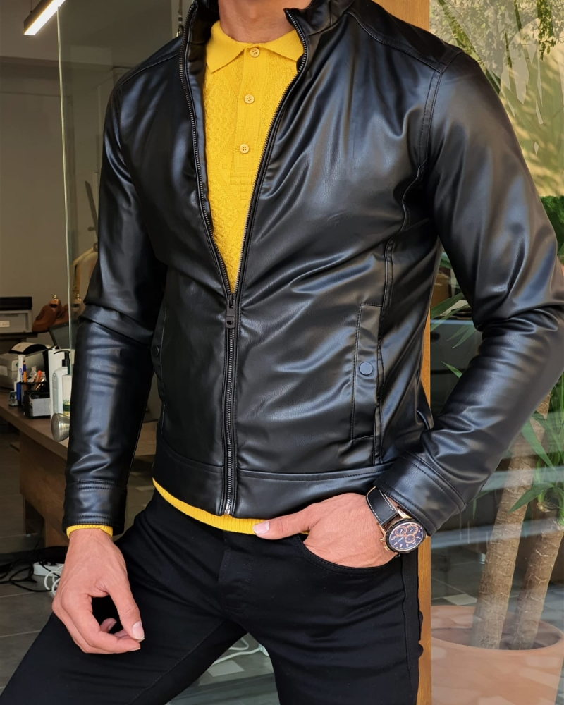 Black Slim Fit Leather Coat by GentWith.com with Free Worldwide Shipping
