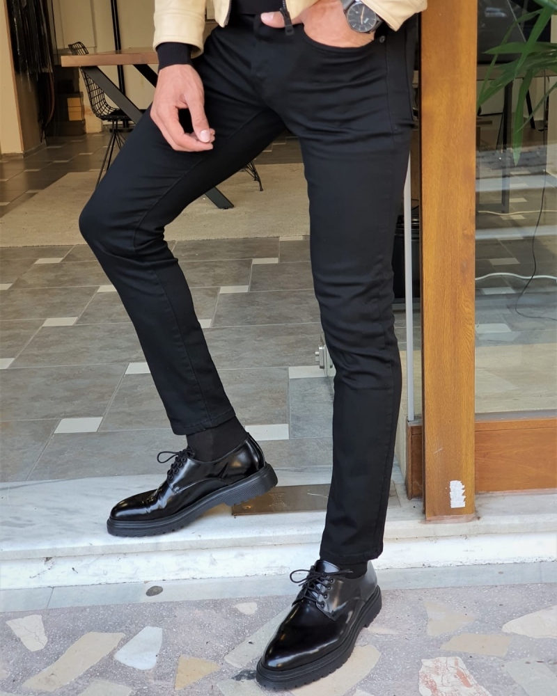 Black Slim Fit Lycra Jeans by GentWith.com with Free Worldwide Shipping