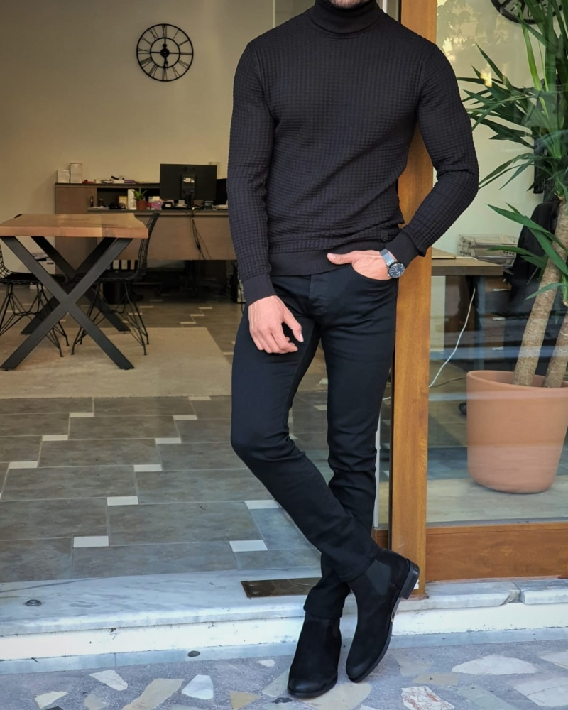 Black Slim Fit Turtleneck Sweater by GentWith.com with Free Worldwide Shipping