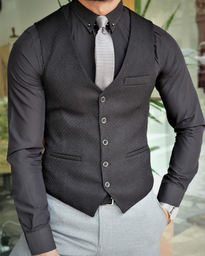 Black Slim Fit Vest by GentWith.com with Free Worldwide Shipping
