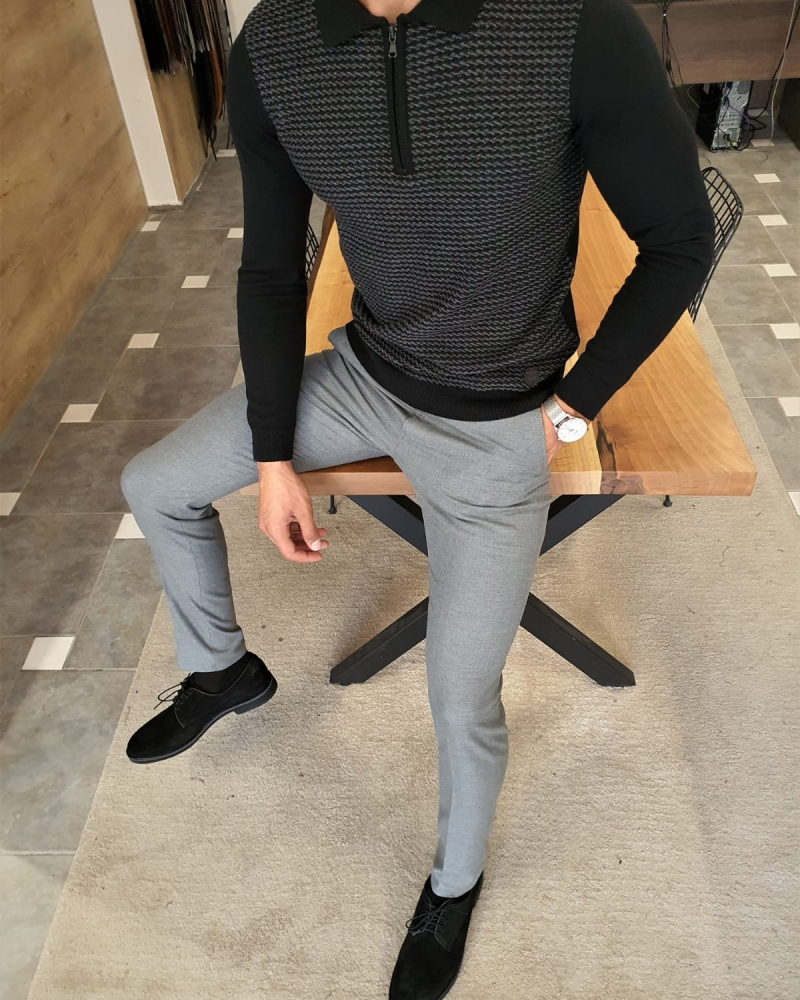 Black Slim Fit Zipper Collar Sweater by GentWith.com with Free Worldwide Shipping