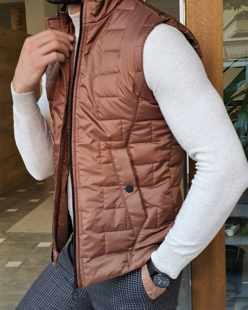 Camel Slim Fit Puffer Jacket by GentWith.com with Free Worldwide Shipping