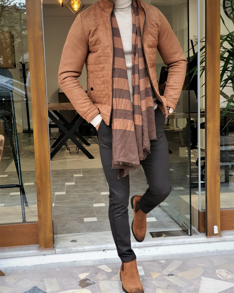 Camel Slim Fit Wool Coat by GentWith.com with Free Worldwide Shipping