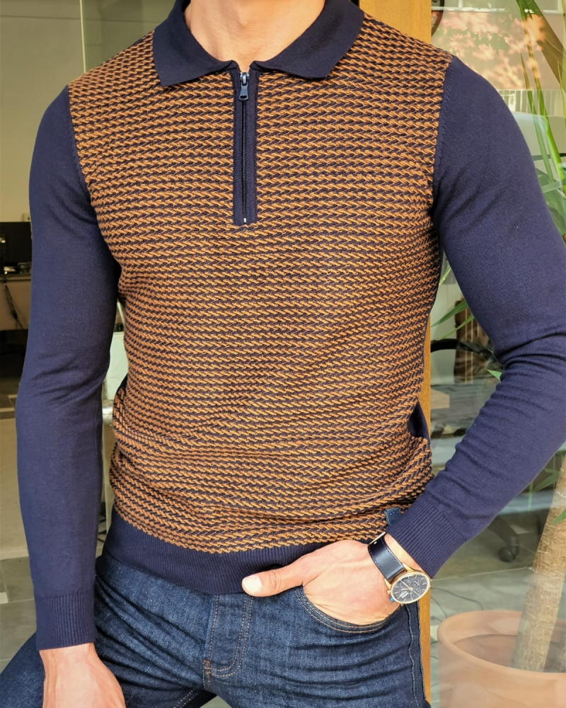 Camel Slim Fit Zipper Collar Sweater by GentWith.com with Free Worldwide Shipping