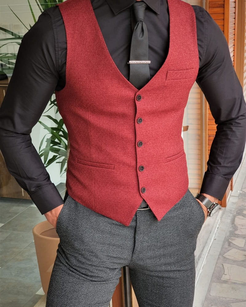 Claret Red Slim Fit Vest by GentWith.com with Free Worldwide Shipping