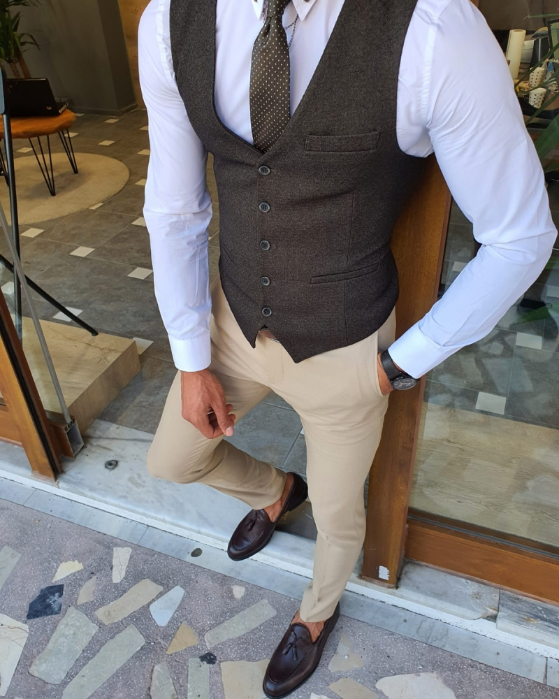 Khaki Slim Fit Vest by GentWith.com with Free Worldwide Shipping