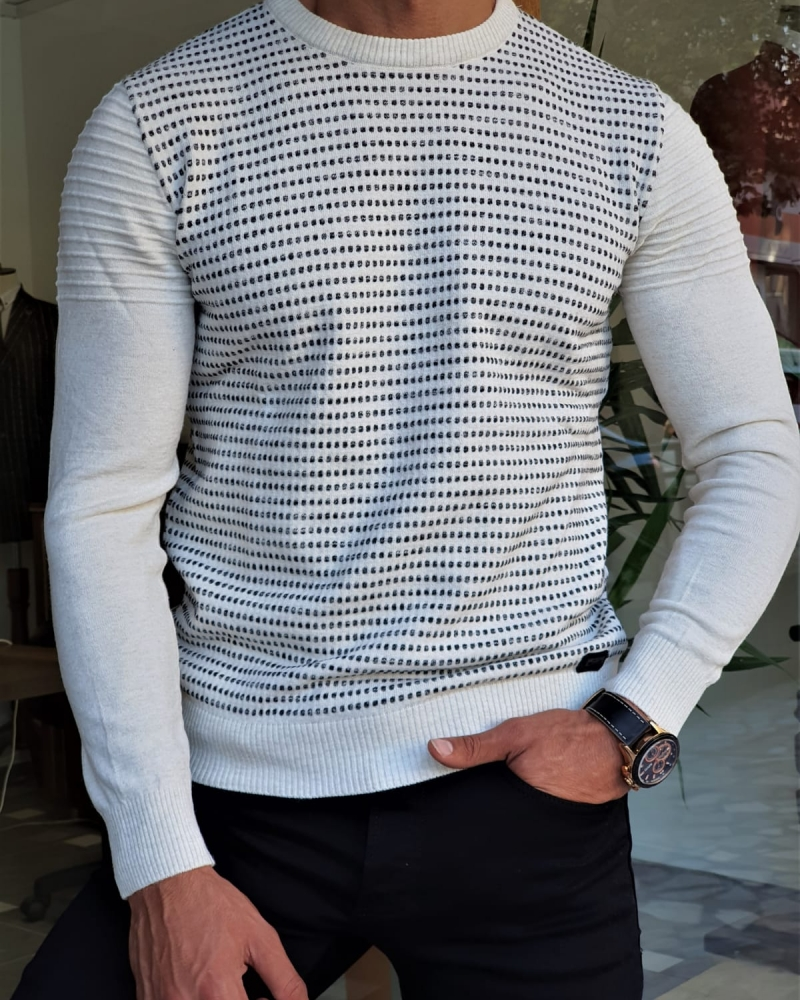 White Slim Crewneck Sweater by GentWith.com with Free Worldwide Shipping