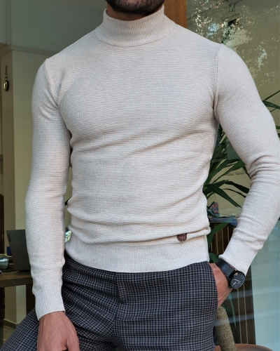 Beige Slim Fit Mock Turtleneck Sweater by GentWith.com with Free Worldwide Shipping