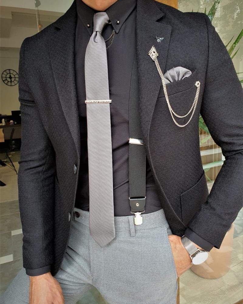 Black Slim Fit Blazer by GentWith.com with Free Worldwide Shipping
