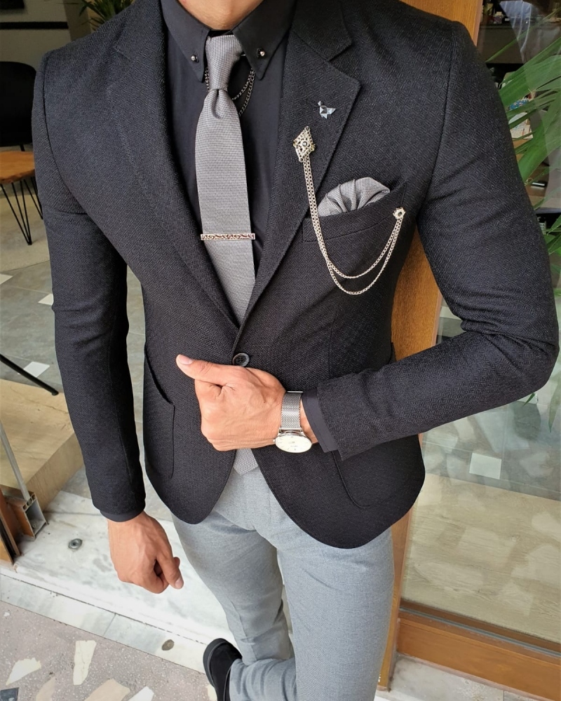 Black Slim Fit Blazer by GentWith.com with Free Worldwide Shipping