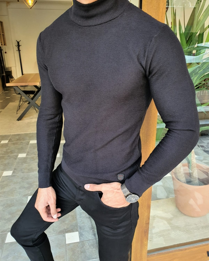Black Slim Fit Mock Turtleneck Sweater by GentWith.com with Free Worldwide Shipping