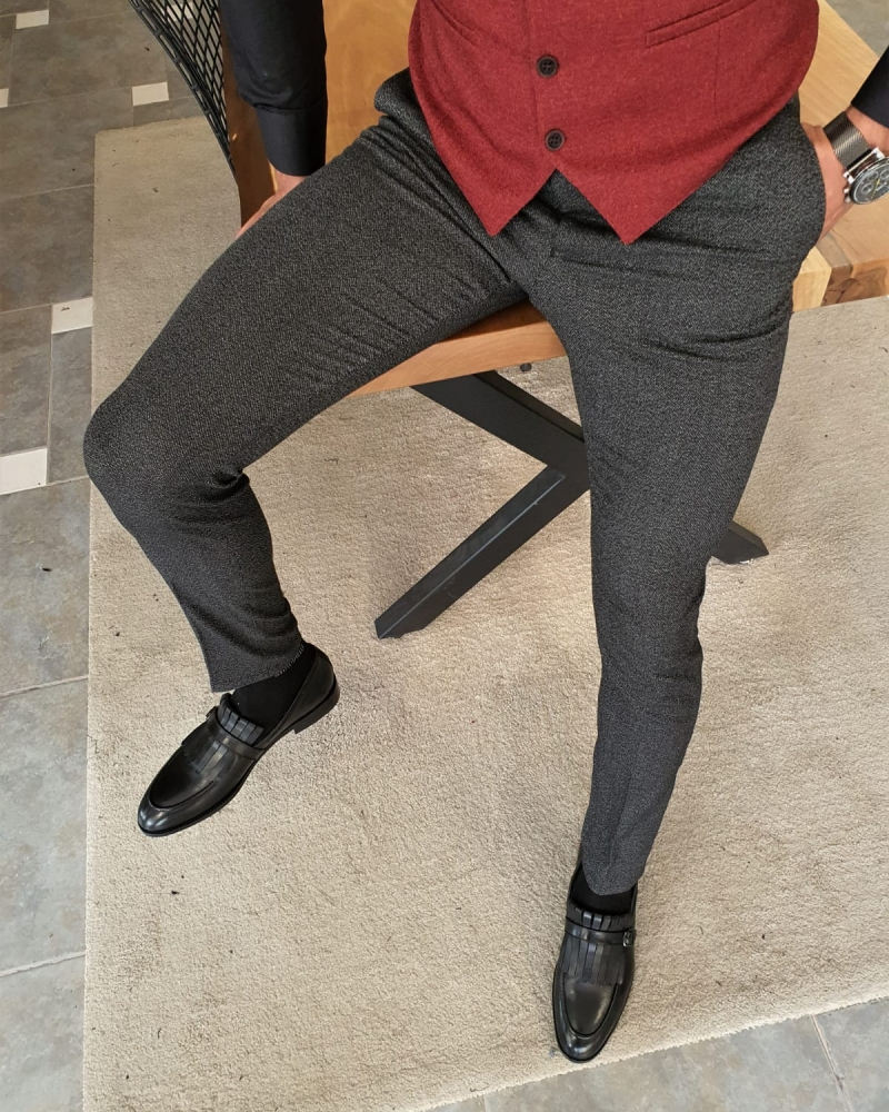 Black Slim Fit Pants by GentWith.com with Free Worldwide Shipping