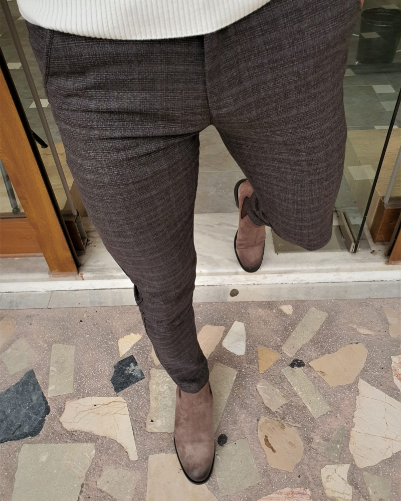 Brown Slim Fit Plaid Cotton Pants by GentWith.com with Free Worldwide Shipping