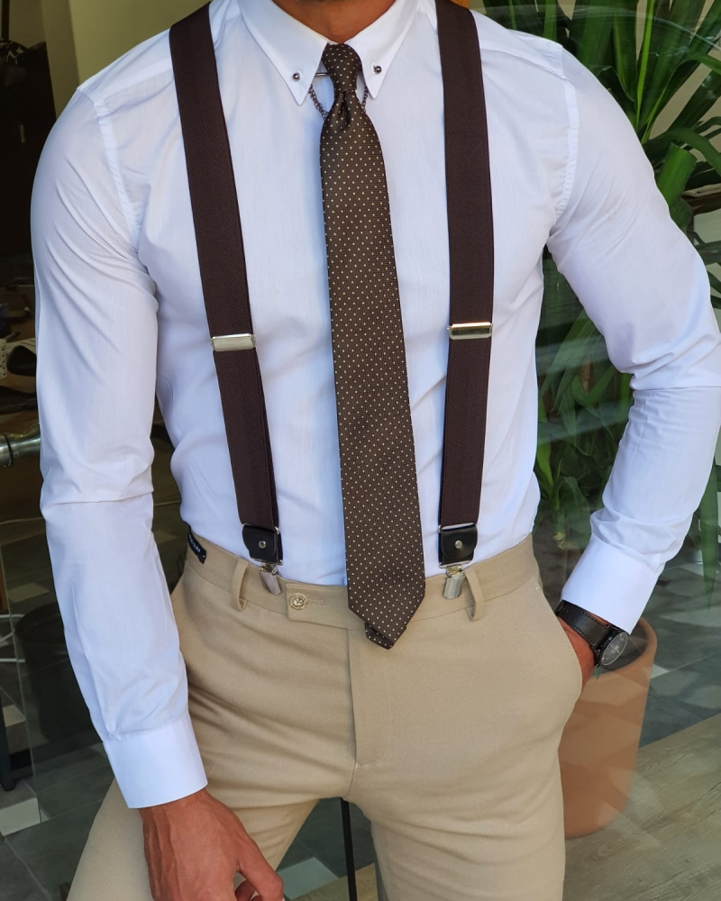 Brown Suspenders by GentWith.com with Free Worldwide Shipping