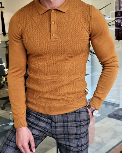 Camel Slim Fit Collar Sweater by GentWith.com with Free Worldwide Shipping