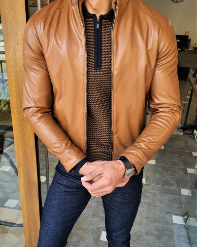 Camel Slim Fit Leather Coat by GentWith.com with Free Worldwide Shipping