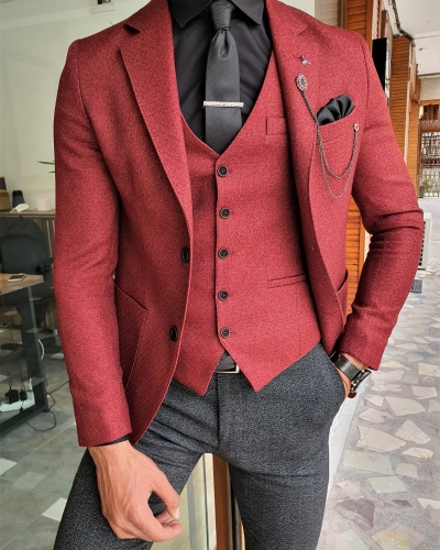 Claret Red Slim Fit Suit by GentWith.com with Free Worldwide Shipping