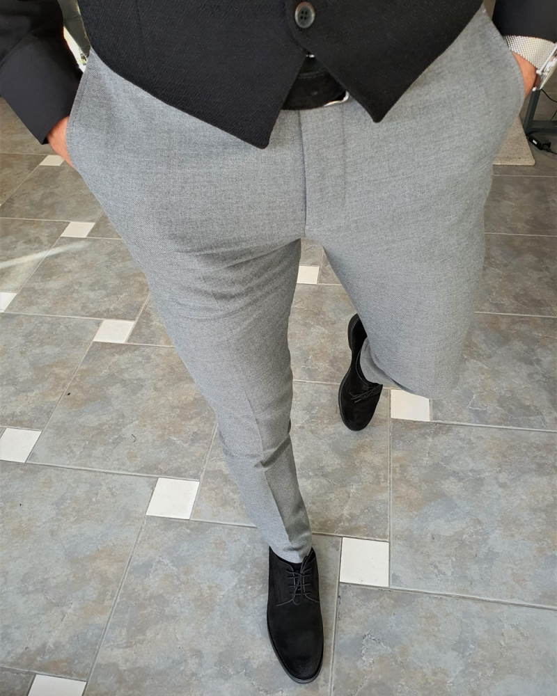 Gray Slim Fit Pants by GentWith.com with Free Worldwide Shipping