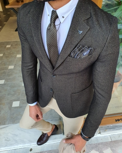 Khaki Slim Fit Blazer by GentWith.com with Free Worldwide Shipping