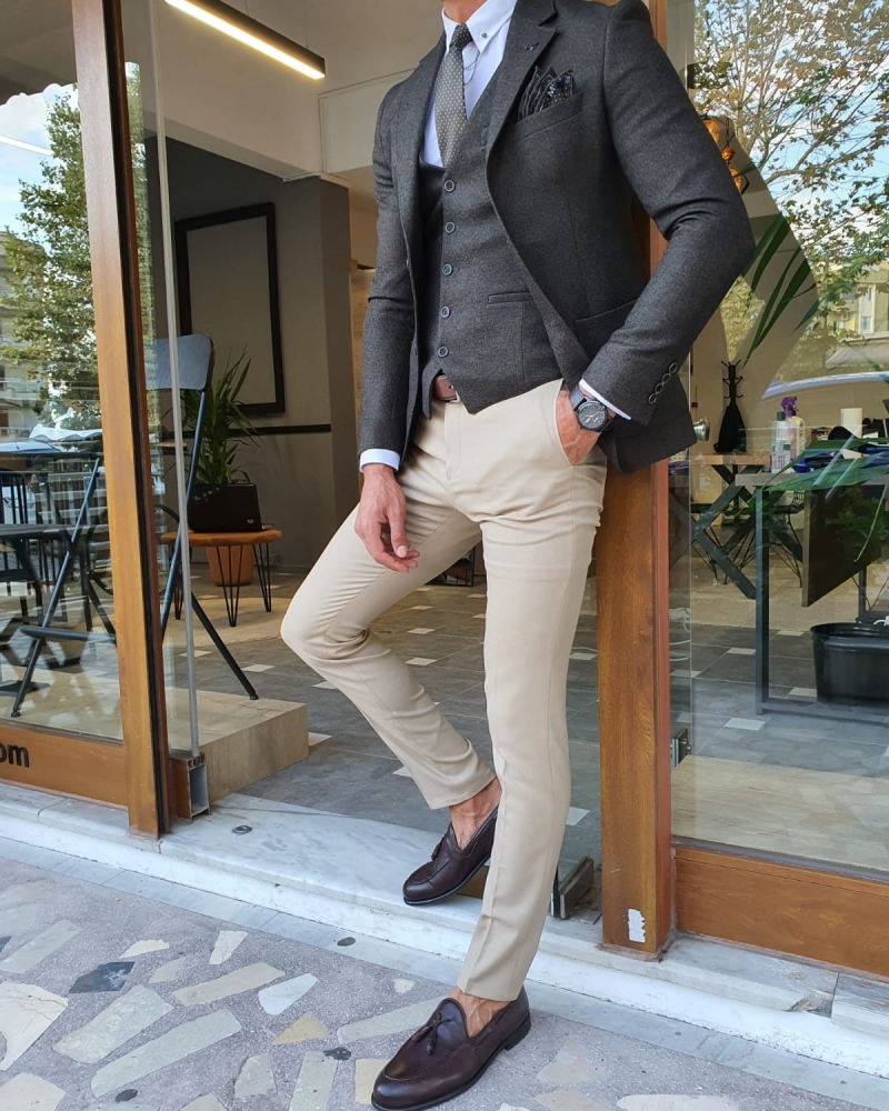 Khaki Slim Fit Suit by GentWith.com with Free Worldwide Shipping