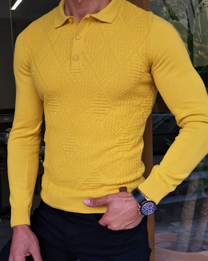 Yellow Slim Fit Collar Sweater by GentWith.com with Free Worldwide Shipping