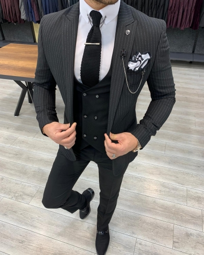 Black Slim Fit Pinstripe Suit by GentWith.com with Free Worldwide Shipping