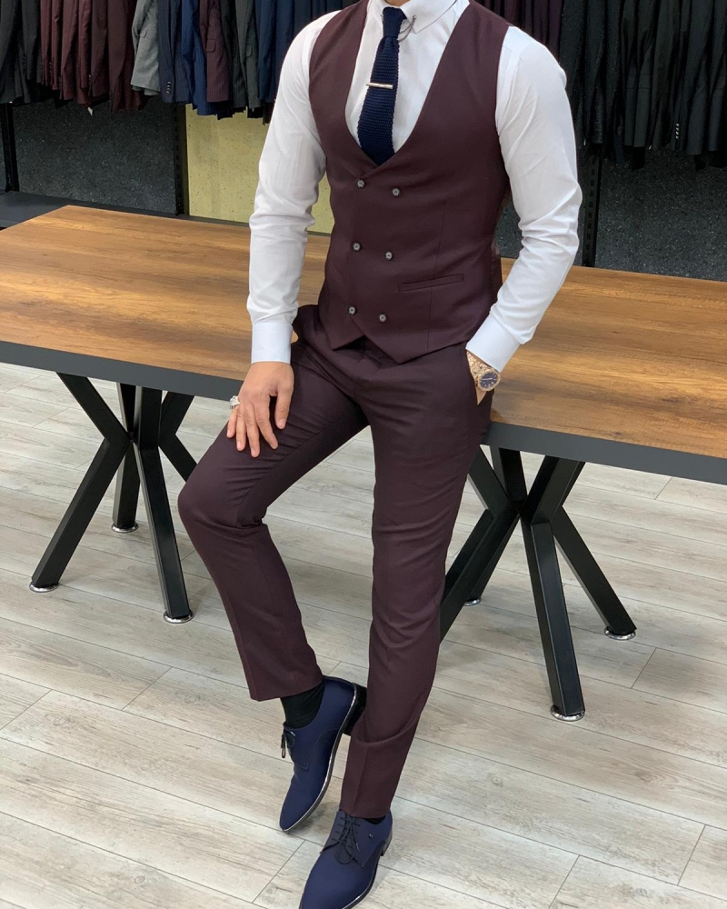 Burgundy Slim Fit Pinstripe Suit by GentWith.com with Free Worldwide Shipping