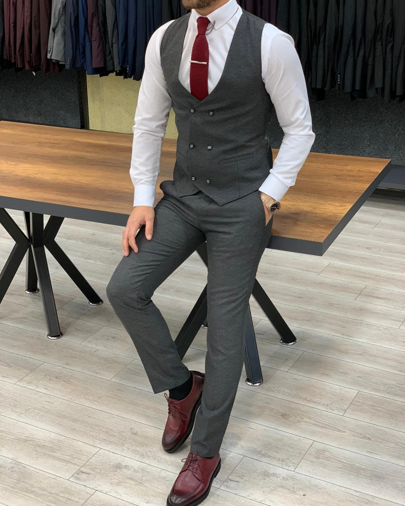 Gray Slim Fit Pinstripe Suit by GentWith.com with Free Worldwide Shipping
