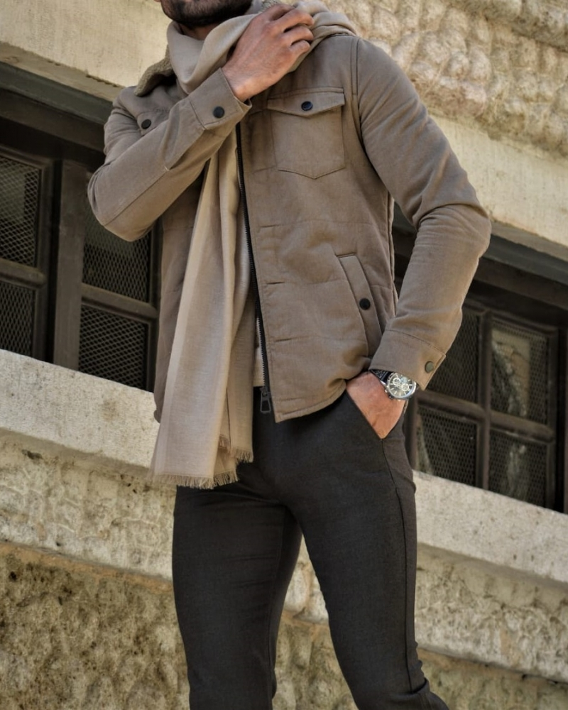 Beige Slim Fit Velvet Coat by GentWith.com with Free Worldwide Shipping