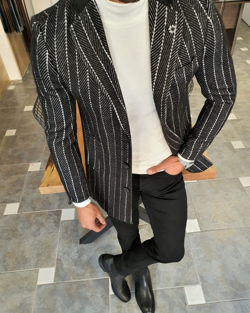 Black Slim Fit Striped Wool Long Coat by GentWith.com with Free Worldwide Shipping