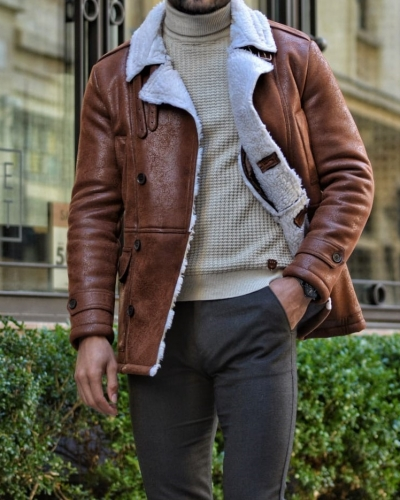 Camel Slim Fit Double Breasted Coat by GentWith.com with Free Worldwide Shipping