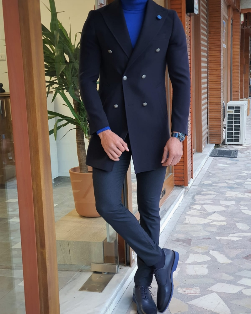 Navy Blue Slim Fit Wool Long Coat by GentWith.com with Free Worldwide Shipping
