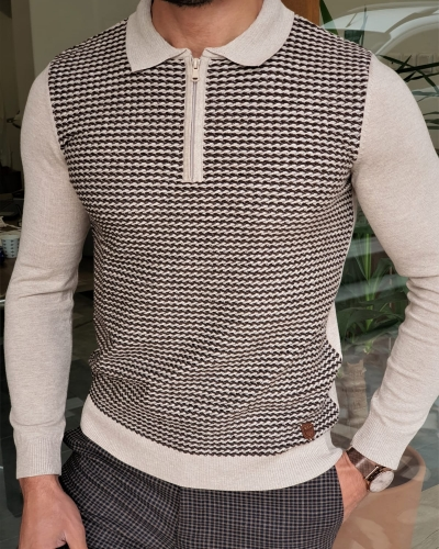 Beige Slim Fit Zipper Collar Sweater by GentWith.com with Free Worldwide Shipping