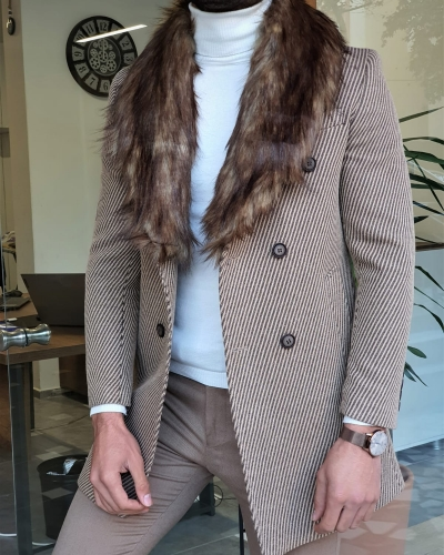 Camel Slim Fit Wool Long Coat by GentWith.com with Free Worldwide Shipping