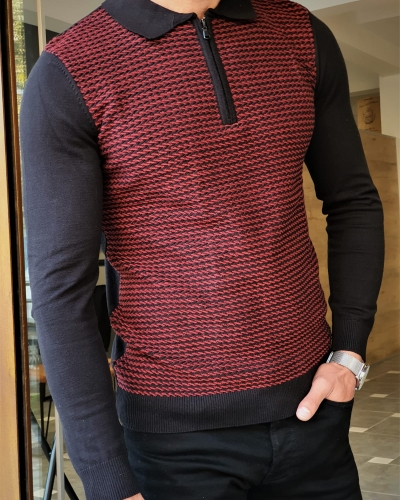 Claret Red Slim Fit Zipper Collar Sweater by GentWith.com with Free Worldwide Shipping