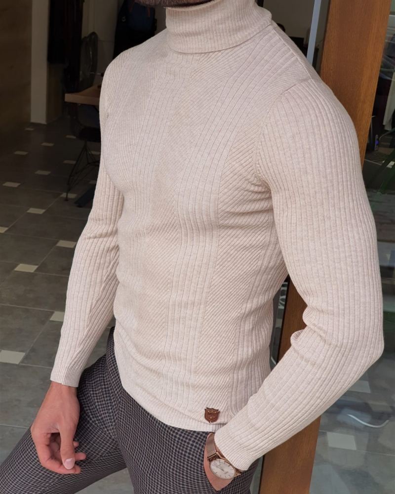 Beige Slim Fit Striped Turtleneck Wool Sweater by GentWith.com with Free Worldwide Shipping