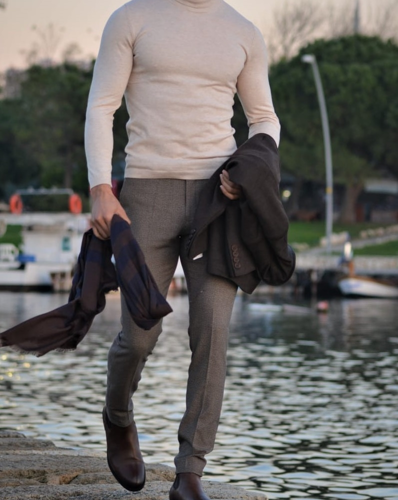 Beige Slim Fit Turtleneck Wool Sweater by GentWith.com with Free Worldwide Shipping