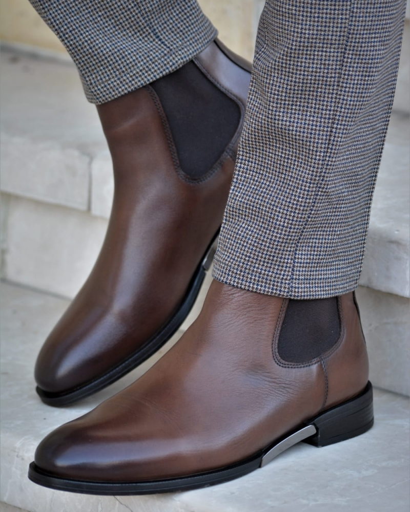 Brown Chelsea Boots by GentWith.com with Free Worldwide Shipping
