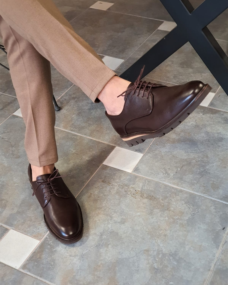 Brown Laced Boots by GentWith.com with Free Worldwide Shipping