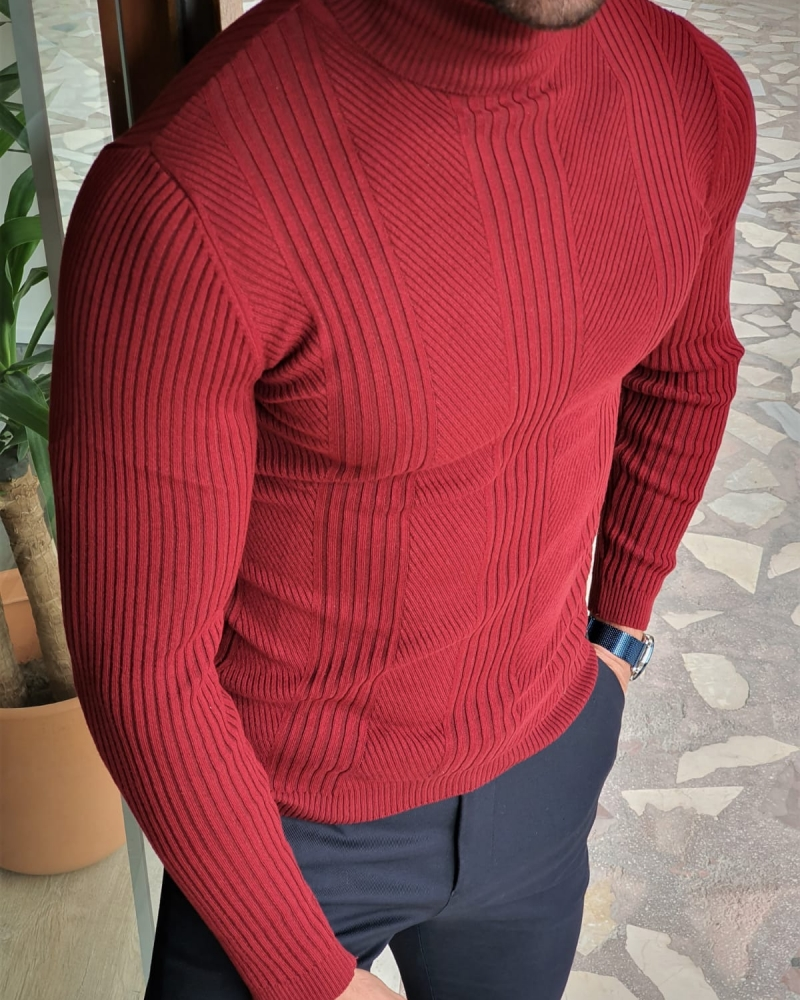 Claret Red Slim Fit Striped Turtleneck Wool Sweater by GentWith.com with Free Worldwide Shipping