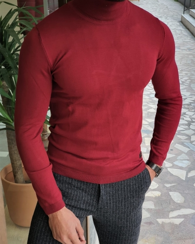 Claret Red Slim Fit Turtleneck Wool Sweater by GentWith.com with Free Worldwide Shipping