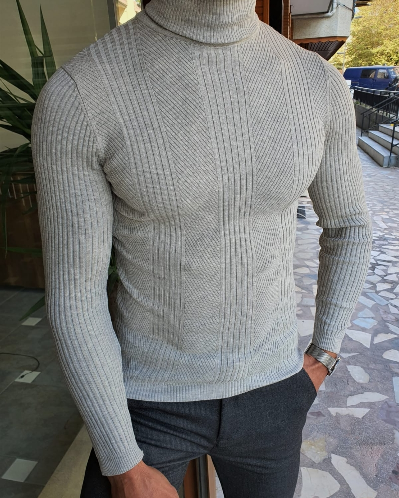 Gray Slim Fit Striped Turtleneck Wool Sweater by GentWith.com with Free Worldwide Shipping