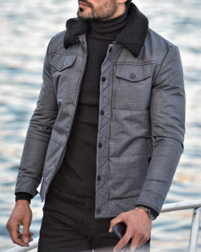 Gray Slim Fit Wool Coat by GentWith.com with Free Worldwide Shipping