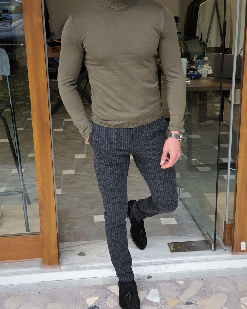 Khaki Slim Fit Turtleneck Wool Sweater by GentWith.com with Free Worldwide Shipping